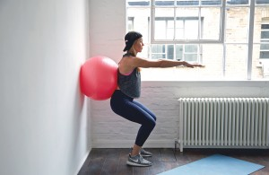 Wall squats with Fitaball